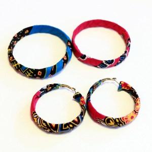 Pink, Blue & White African Print Bracelet & Earrings Set