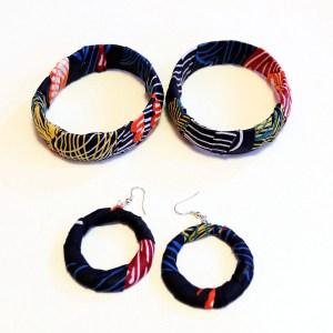 Black, Yellow & Blue African Print Bracelet & Earrings Set