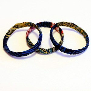 Yellow, Black & Orange African Print Bracelet & Earrings Set