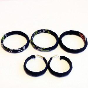 Navy Blue & Yellow African Print Bracelet & Earrings Set