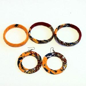 Orange & Brown African Print Bracelet & Earrings Set