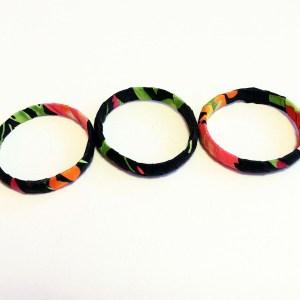Black, Orange & Green African Print Bracelet & Earrings Set