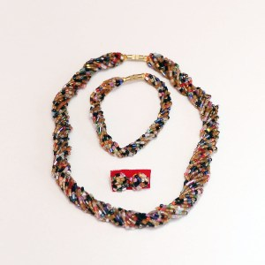 Multicolored 4 African Beaded Necklace Set
