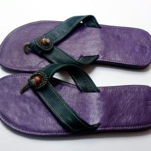 Dark Green & Purple African Leather Sandals