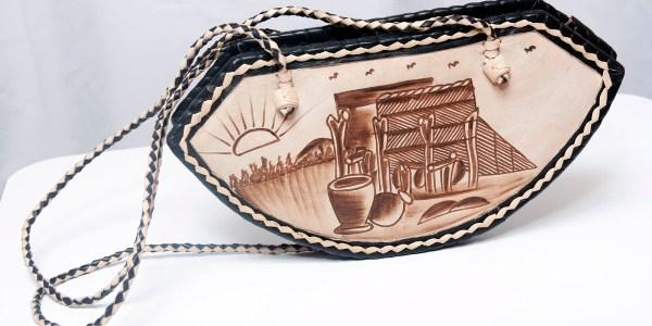 Handmade African Leather Bag - Sun