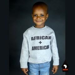 African + American Pull à col ras du cou pré-rétréci Gris & Noir – Unisexe