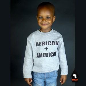 Unisex African + American Crewneck Sweatshirt Grey & Black – Kids