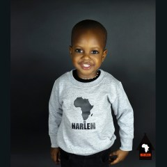 Unisex Africa in Harlem Crewneck Sweatshirt Grey & Black – Kids