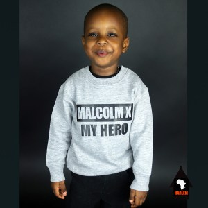 Unisex Malcolm X My Hero Crewneck Sweatshirt Grey & Black – Kids