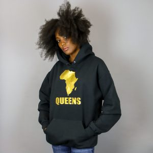 Africa in Queens Hooded Sweatshirt Gold