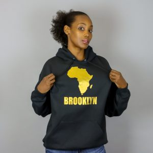 Africa in Brooklyn Hooded Sweatshirt Gold
