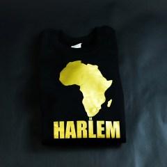 Africa in Harlem Noir & Doré Pull à col ras du cou pré-rétréci Doré Unisexe