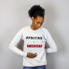 African + American Pull à col ras du cou pré-rétréci Vert – Unisexe