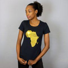 Africa T-shirt manches courtes Noir & Doré – Femmes