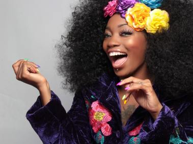 African woman hair smile color flower laugh black