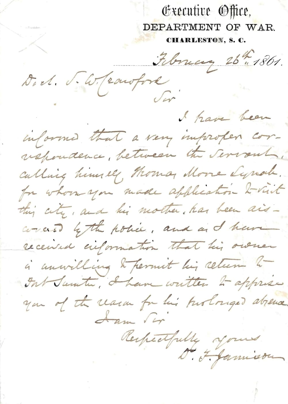 A Slave At Fort Sumter Letter – Was He A