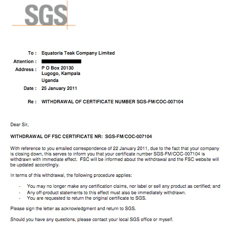 Letter From SGS African Arguments