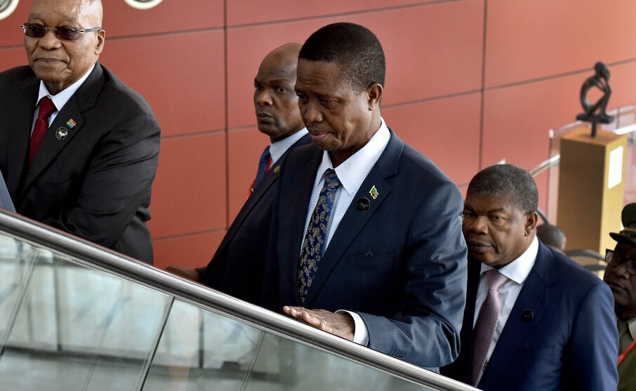 Zambia 2021: President Edgar Lungu (centre). Credit: GCIS.