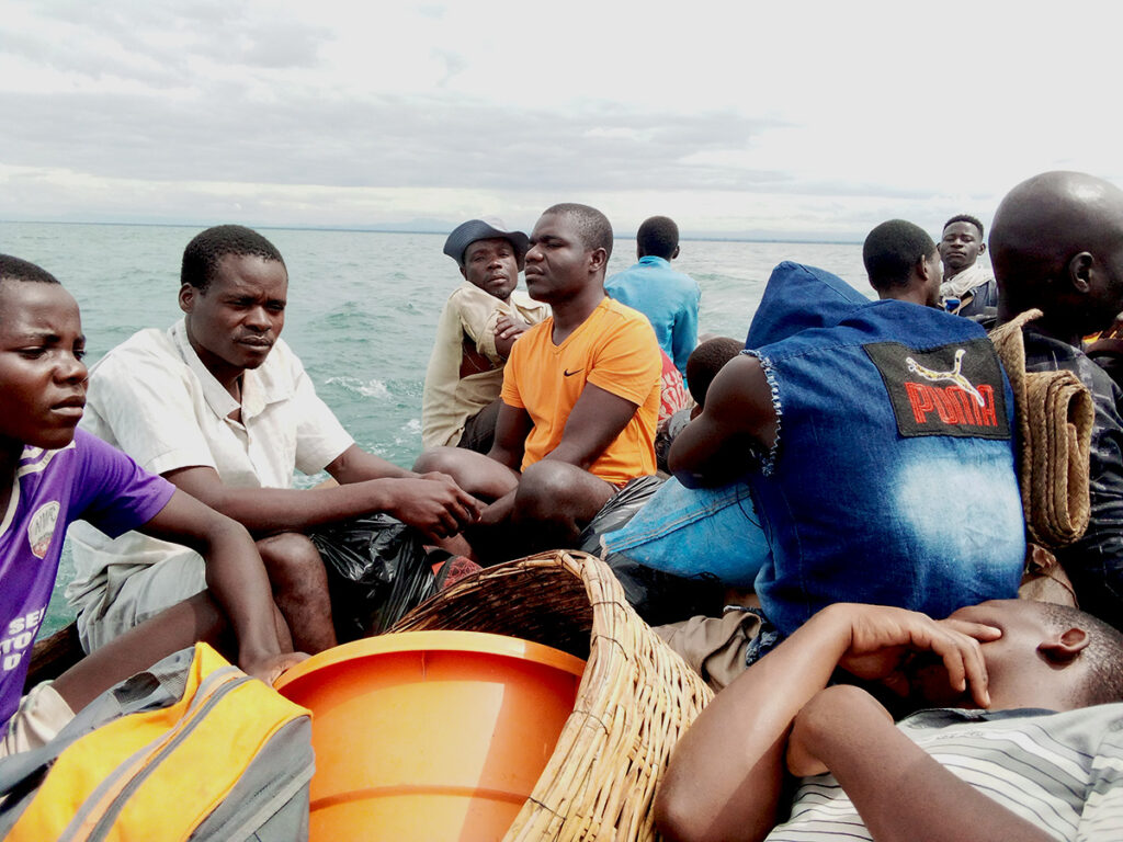 On the boat to Mbenje Island. Credit: Charles Pensulo.