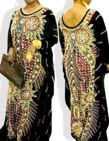 Women African Designer Round Neck Chiffon Dubai Kaftan Dresses