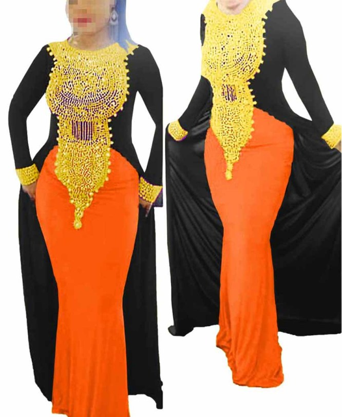 Elegant African Attire Moroccan Dresses for Women Evening Spandex Kaftan