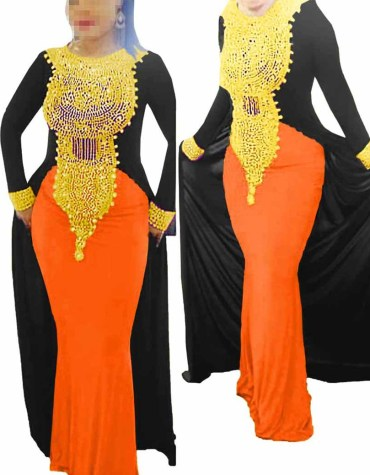 Elegant African Attire Moroccan Dresses for Women Evening Spandex Kaftan