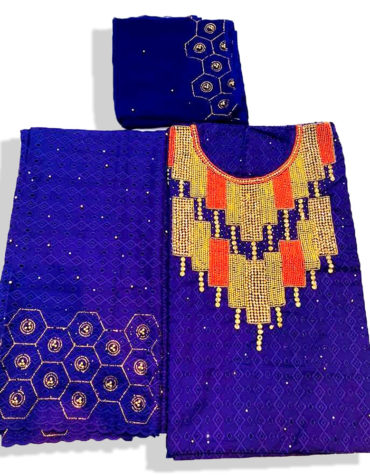 Latest Cotton African Dry Lace Dress (Color: Royal-Blue