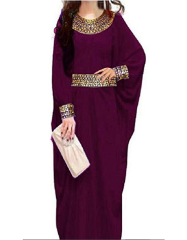 African Style Fashion Golden Beaded Chiffon Kaftan