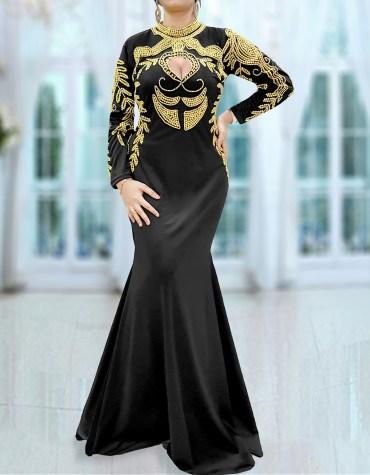 African Prom Style Babyshower Kaftan Handmade Morocco Embroidery Lycra Dress