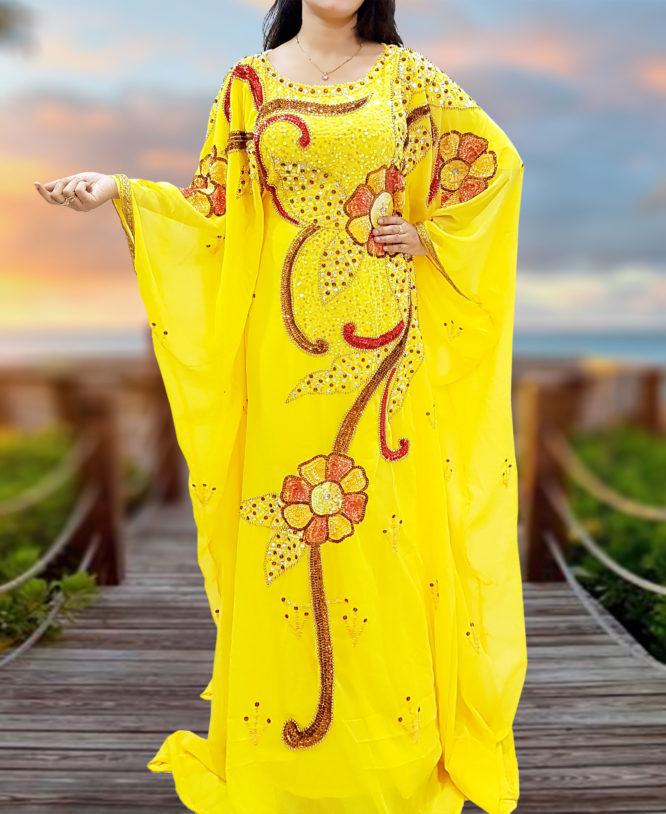 Dubai Kaftan Moroccan Yellow Dress with Embroidered Bead Stone Tikki Work Caftan
