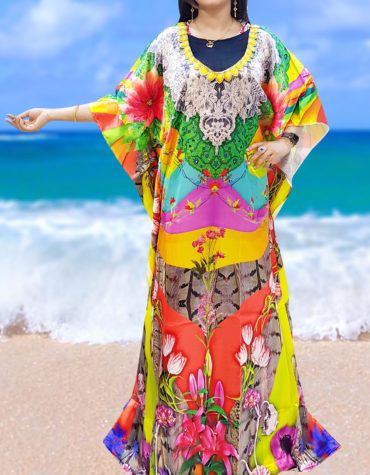 Beach 3D Digital Print Kaftan with Sleeve Plus Size Cover up Dresses for Women