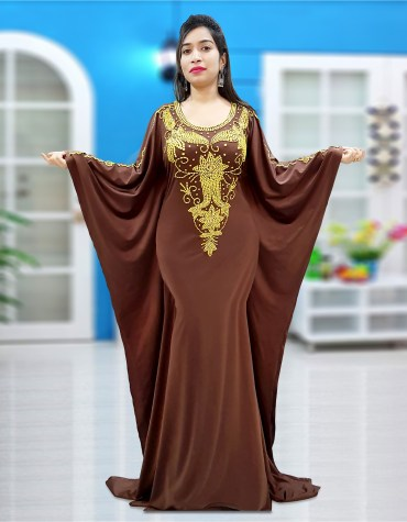 Dubai Kaftan Beaded Formal African Attire Fancy Lycra Caftan Abaya for Women's