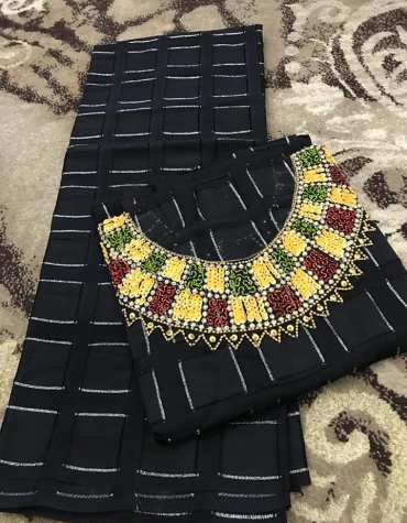 Swiss Voile Lace Black Mix Color Beaded African Chokar Design Dress Material