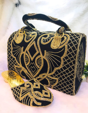 Wedding Gold Crystal Beaded Evening Black handbags with Mojri sandal for women