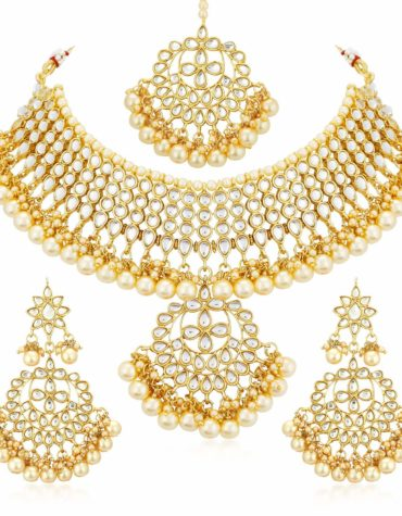 Gold Plated Kundan Pearl Fancy Choker Necklace Set Traditional Jewelry Set with Earrings for Women & Girls