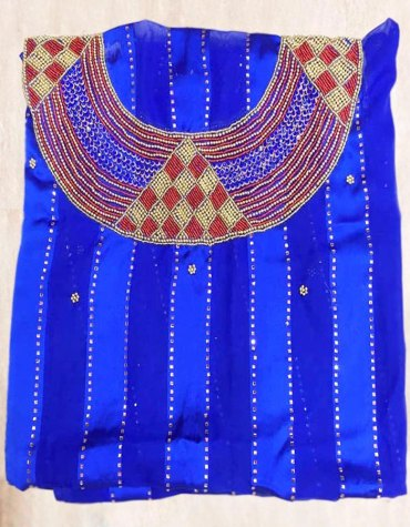 Latest African 3 Piece Swiss Voile Plane Satin Silk Choker Design Beaded Dress Material