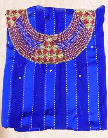 Latest African 3 Piece Swiss Voile Plane Satin Silk Choker Design Beaded Dress Material