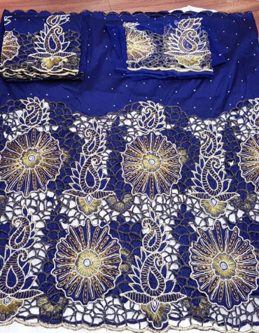 Nigerian traditional Wedding Heavy Beaded Indian Silk George Fabric Lace Large Wrapper