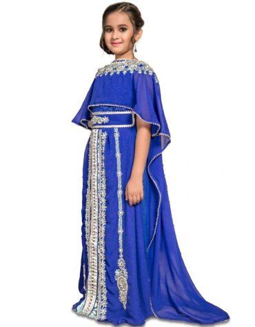 Dubai Kaftan Abaya Maxi Gown Hand Work Golden Beaded African Chiffon Kaftan