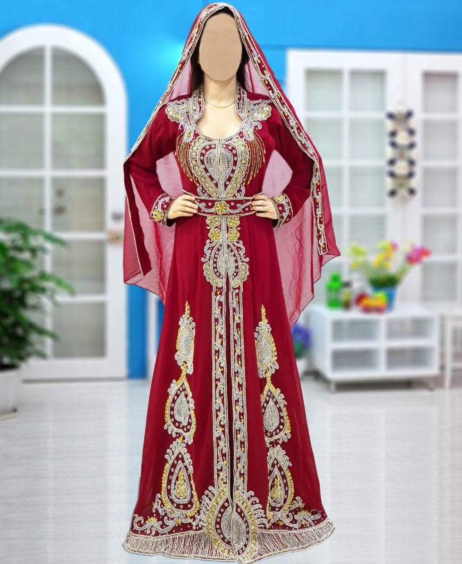 Wedding Abaya Long Maxi Formal Crystal Beaded Dubai Kaftan for Women