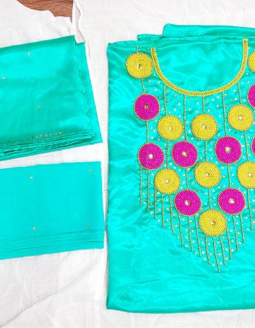 African Attire Party Wear latest Abaya Beaded Gloss Silk Dress Fabric