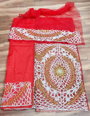 African Nigerian George Wrapper Heavy Beaded Stone Tulle George Fabric with Blouse