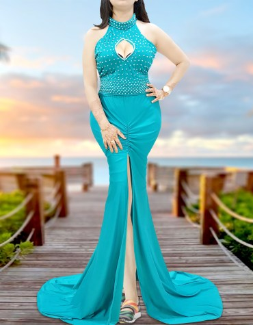 Lycra Two Pieces Beaded Sexy Mermaid Halter Prom African Dress with White Pearls
