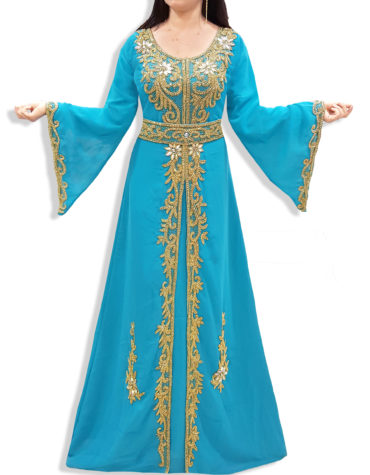 Elegant Formal Maxi Gown Gold Beaded Fancy Kaftan Dresses for Women's Party