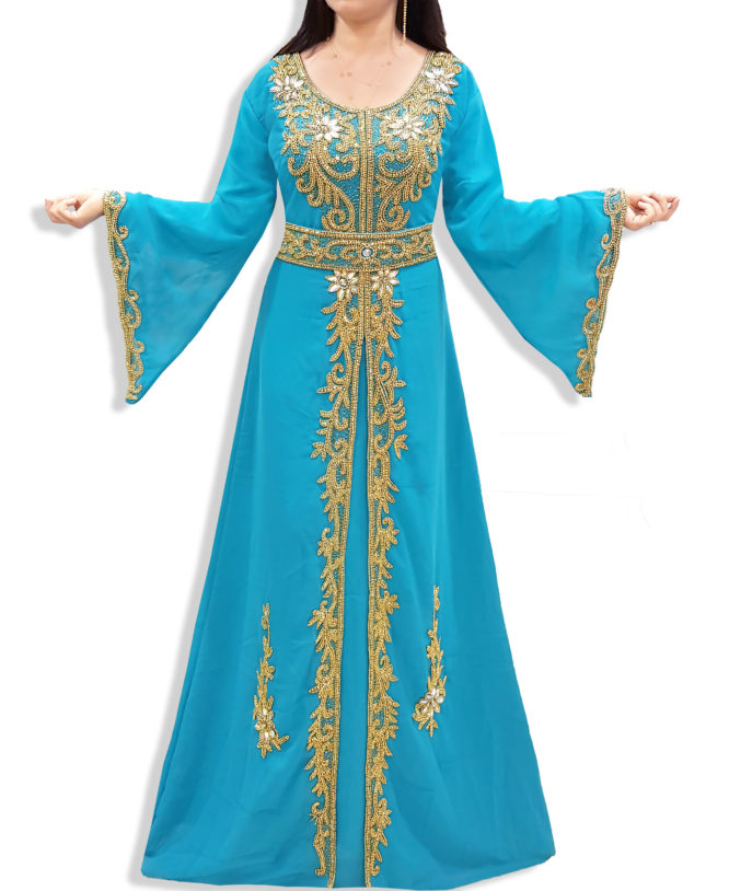 Elegant Formal Maxi Gown Gold Beaded Fancy Kaftan Dresses for Women's Party