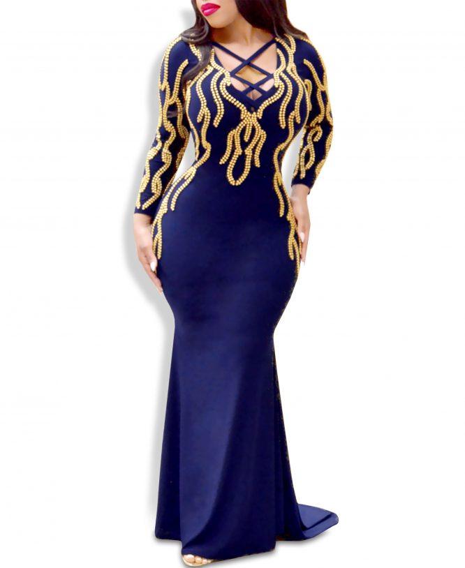 Elegant Criss-Cross Design Mermaid Prom African Dresses