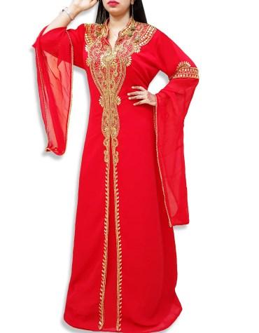 Elegant Abaya African Plus Size Beaded Dress Arabian Muslim Wedding Dubai Kaftan