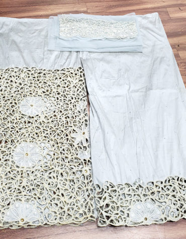 Nigerian traditional Heavy Beaded George wrapper African White George Fabric