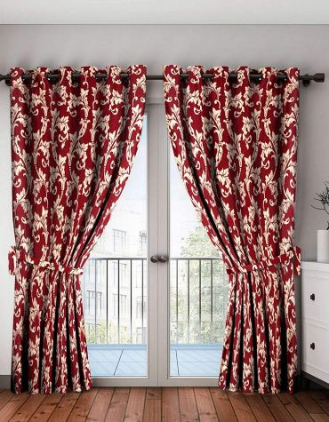Home Spark Leaf Scroll 2 Pieces Polyester Maroon Long Door Curtains