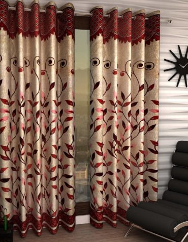 Home Sizzler Pieces Polyester Blend 9 Feet Long Door Curtains, Maroon -Set of 2